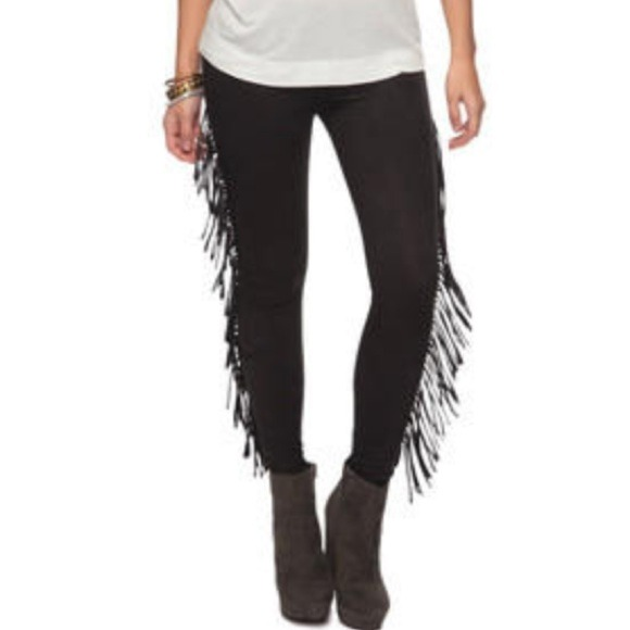 63cde82da640c Forever 21 Pants | Sexy Rocker Side Fringe Black Leggings | Poshmark