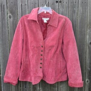 AMI Jackets & Blazers - Rose Suede Leather Jacket