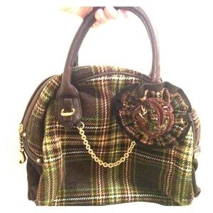 Juicy Couture Plaid Wool Bowler Handbag