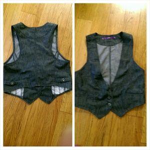 Tops - Denim tuxedo vest