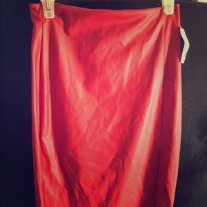 Leather red knee length skirt