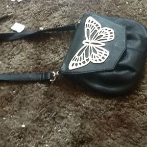 Black butterfly hand bag
