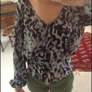 Michael Kors black + gray cheetah top
