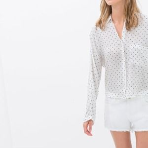 Zara Tops - Zara polka dot long sleeve blouse/ shirt