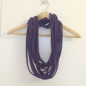 Purple string infinity scarf
