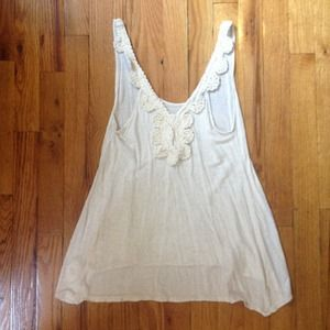 Urban Outfitters Tops - Urban Outfitters Cream Crochet Back Tank Top