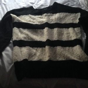 Oversized Black/White Striped Forever 21 Sweater