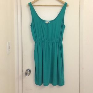 Teal cotton dress with pockets.