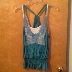Rue21 Tops - Turquoise tank top w butterfly lace design