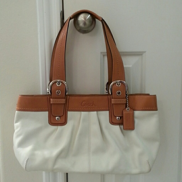 68% off Coach Handbags - COACH White & Tan Leather Handbag from ...