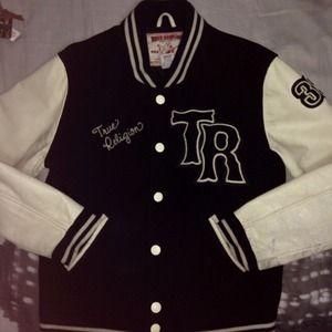 True religion malibu varsity jacket black