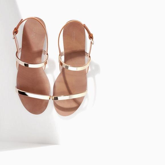 Zara flat sandals with metallic straps• size 7 1/2