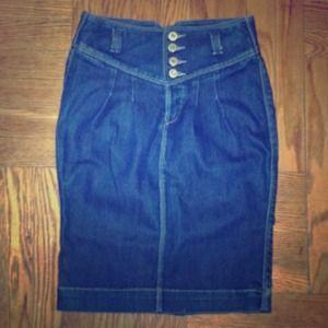Odyn High Waisted Denim Pencil Skirt