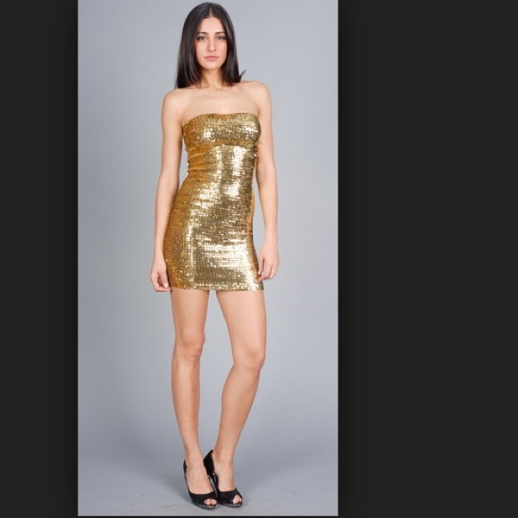 Forever 21 - Gold sequin tube dress from Kimberly&-39-s closet on Poshmark