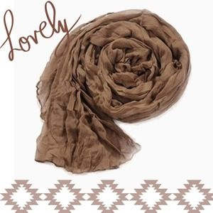 Accessories - NEW Lightweight Sheer Crinkle Scarf in Mocha