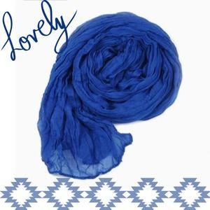 Accessories - NEW Lightweight Sheer Crinkle Scarf in Royal Blue