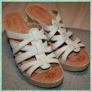 BORN White Leather Wedges