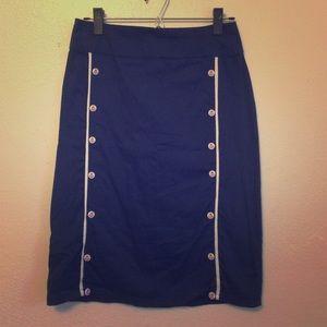 Dresses & Skirts - Navy Blue Nautical Pencil Skirt