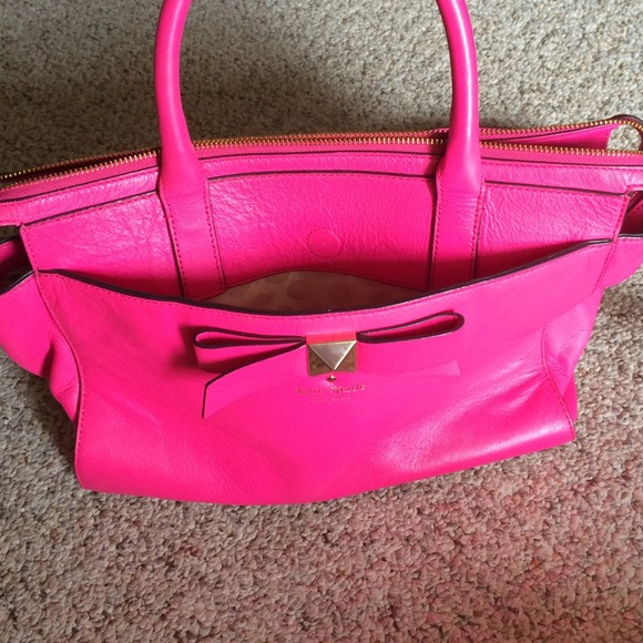 21% off kate spade Handbags - Kate spade hot pink bow tie bag from ...