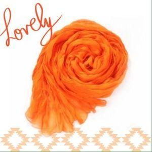 Accessories - NEW Lightweight Sheer Crinkle Scarf in Tangerine