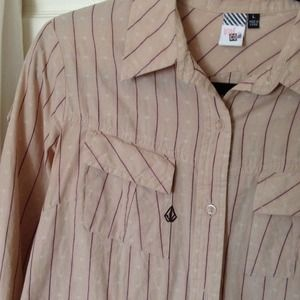 Volcom Tops - Volcom Pink w/ Dark Blue Pin Stripe Button Down