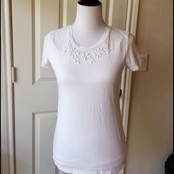 Old Navy Tops - NEW old navy stone embellished tee, ivory sz XS
