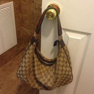 auth Gucci canvas hobo