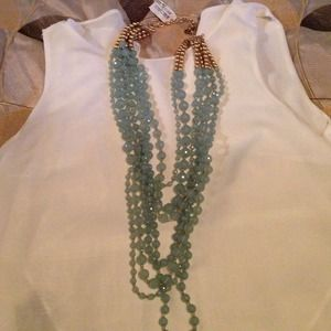 Jewelry - New 7 layer necklace aqua color with gold beads