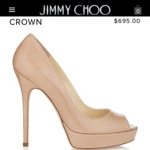 Jimmy Choo Shoes - Jimmy Choo 'Crown' nude peep toe pumps