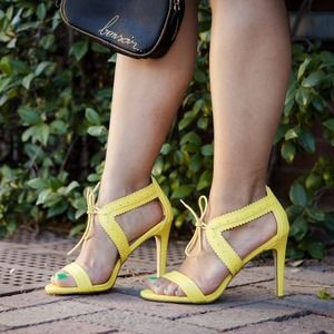 Yellow Faux Leather Lace-Up Sandals