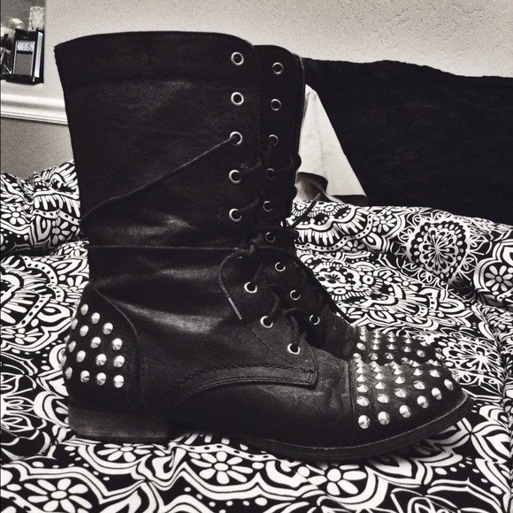 57% off Wet Seal Boots - studded black combat boots :) from ...