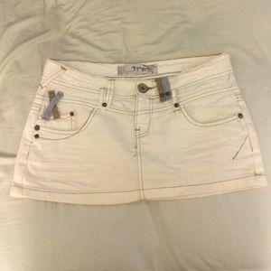 Zara TRF white denim mini skirt 26