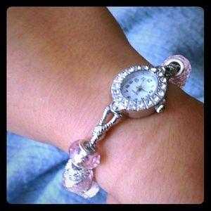 European bead watch bracelet