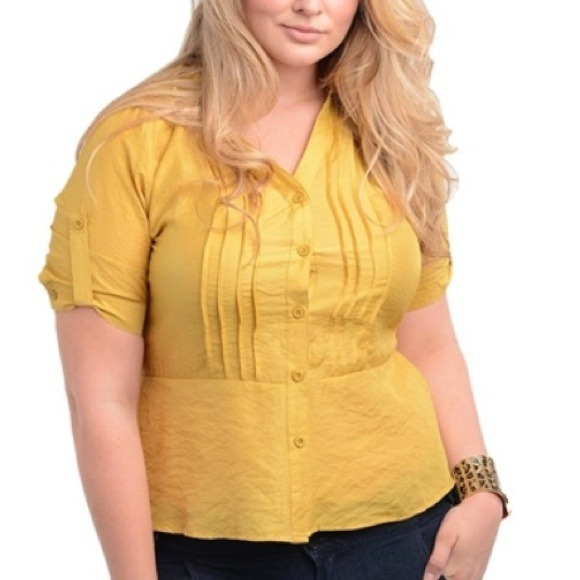 4d8f695d9fd New Plus Size Rayon Mustard Yellow Top Size 3X