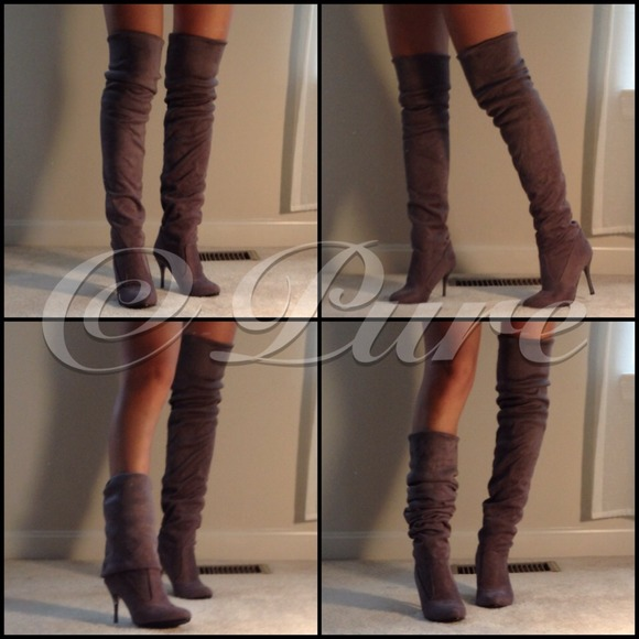 Suede Multiwear Over the Knee Boots in Sexy Gray 6 from Pure's ...