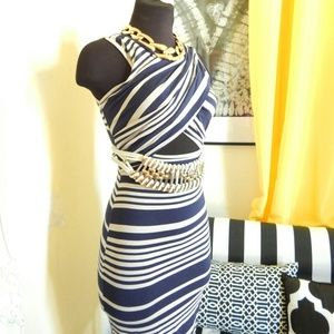 Dresses & Skirts - SMALL Peek -a- Boo Striped Bodycon Dress