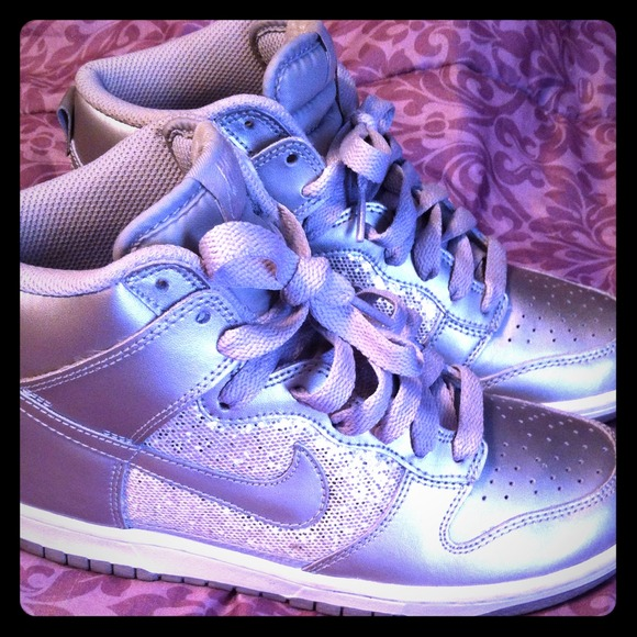 Nike Shoes - Embellished bling silver nikes high tops 1eb8c7812