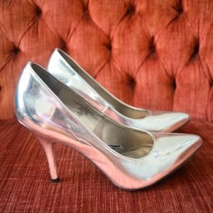 Mossimo Supply Co Shoes - SOLD! Metallic Silver Pointed-Toe Pumps