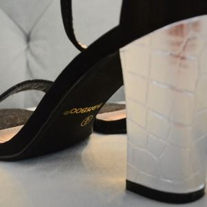 Bamboo Shoes - SOLD! Black Strappy Sandals w/Silver Textured Heel