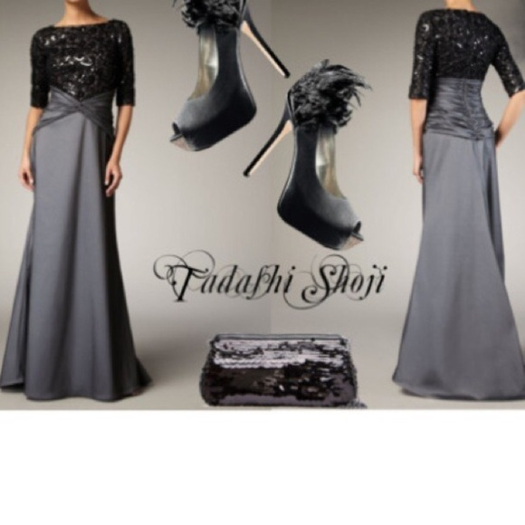 Tadashi Shoji Gray Lace and Sequin Bodice Gown