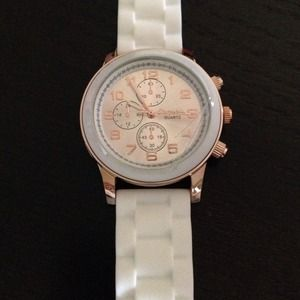 Aeropostale White Rose Gold Oversized Rubber Watch