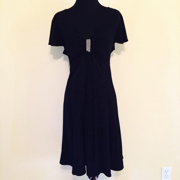 5c71a1a406 Dress Barn Dresses   Skirts - Dressbarn Black Glitter Stretch Flare Dress  14p !