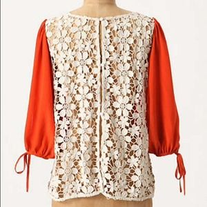 Anthropologie Red Orange Lace Back Blouse