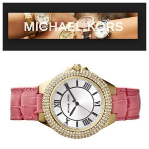 Michael Kors Camille Pink Leather Watch NWT