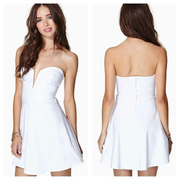 Nastygal white strapless deep v skater dress S 1e84bafe7