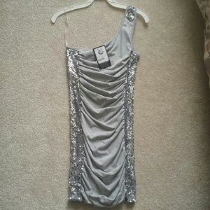 NWT Do & Be Brand One-Shoulder Silver Dress