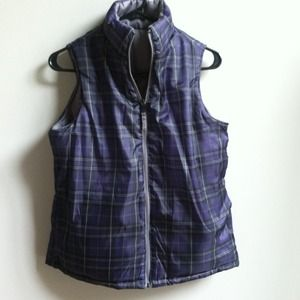 Purple Plaid & Gray Reversible Puffer Vest New S