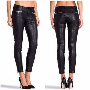Faux leather pants with zipper front detail