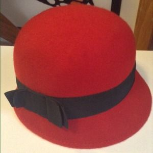 Cute Red Cloche Hat with Little Black Bow
