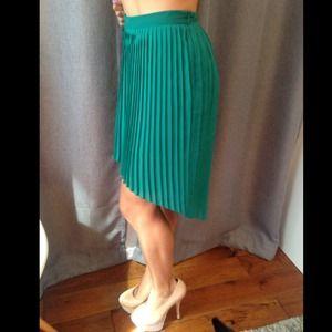 ZARA pleated high-low skirt in green